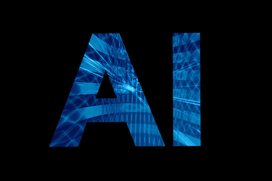 AI artificial intelligence lettering on black background
