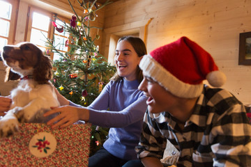 Brother and sister playing with dog in Christmas gift box