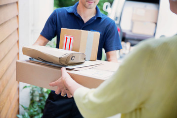 Deliveryman with packages