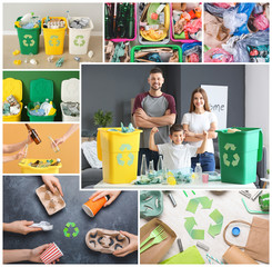 Collage of photos with different types of garbage. Concept of recycling