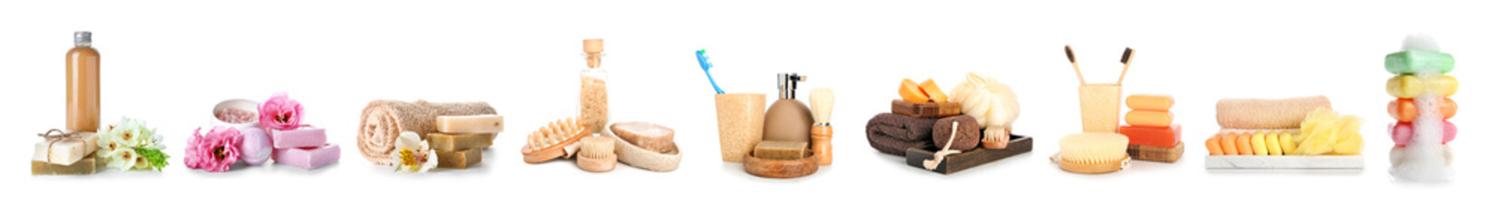 Composition with spa items on white background