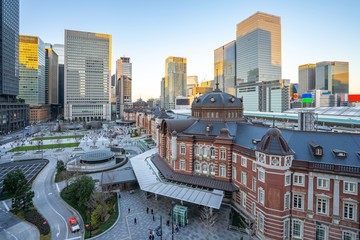 Wall Mural - Tokyo cityscape with view of Tokyo Station in Japan