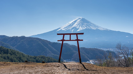 Wall Mural - View of Torii gate of Asama Shrine with Mount Fuji in background