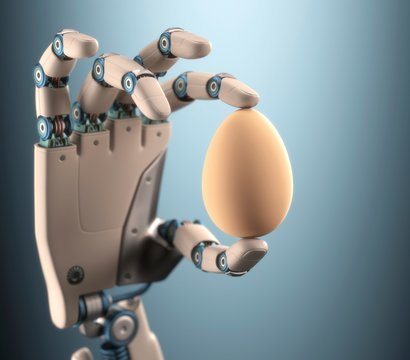 Robotic hand holding egg, illustration
