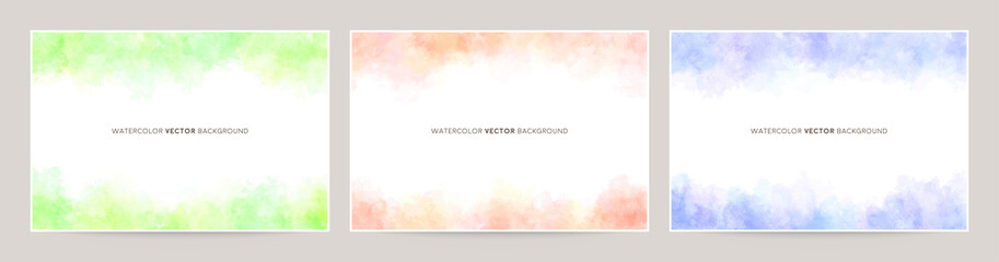 watercolor vector background set : mixed pale color