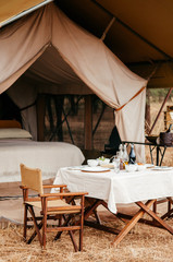 Luxury Safari tent camp with picnic table in Serengeti Savanna forest - Glamping travel in Africa wild forest