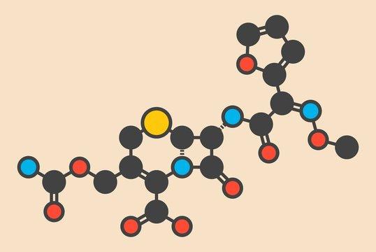 Cefuroxime antibiotic drug molecule
