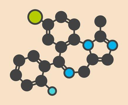Midazolam benzodiazepine drug molecule