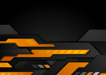 Orange black technology geometric abstract background. Vector design