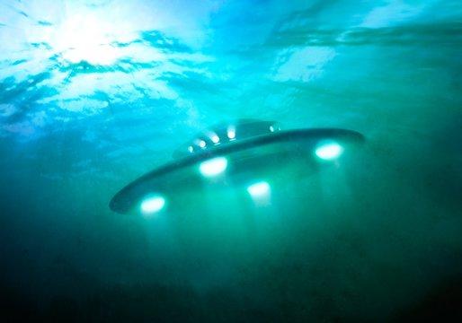 Artwork of UFO under water