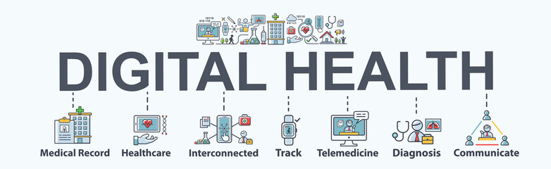 Digital Health banner web icon for Healthcare and Electronic Health, medical record, interconnected, telemedicine, pharmacy online, track, wearable and device sensor. Flat vector infographic.
