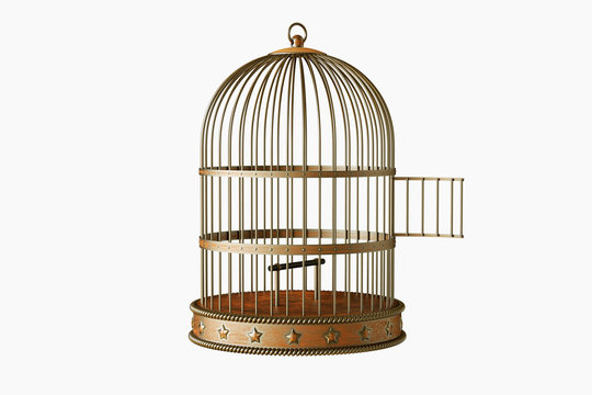Vintage style metal open bird cage isolated on white background