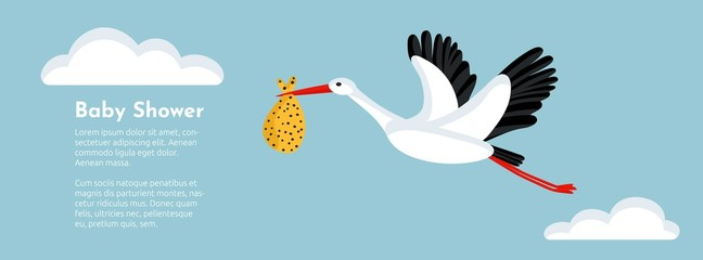 Baby shower banner with stork flying and carrying a bundle.