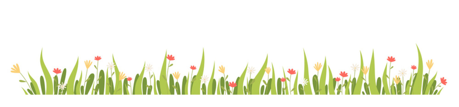 Horizontal banner spring grass and flowers. Vector illustration