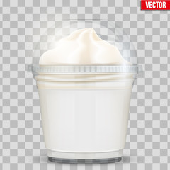 Clear plastic cup with ice cream and sphere dome cap. Plastic ice cream container with label. Vector Illustration on transparent background.