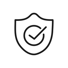 check mark quality shield icon linear design