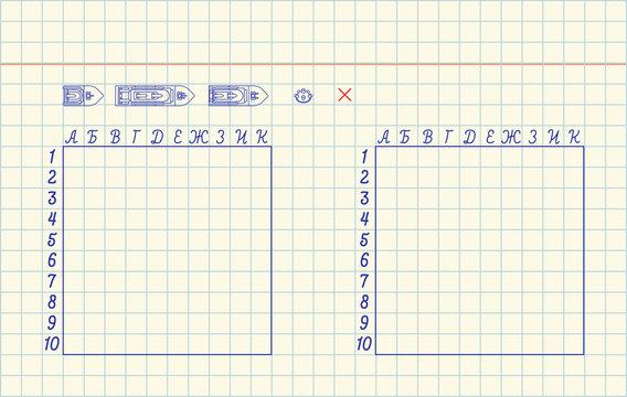 Sea battle in notebook. template vector illustration