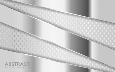 Shinny metal silver background combine with white textured overlap layer.