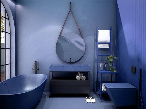 interior design for classic blue color trend 2020,3d rendering,3d illustration