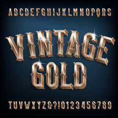 Vintage Gold alphabet font. 3D retro golden letters, numbers and symbols. Stock vector typescript for your design.