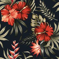 Hibiscus rouge vintage tropical et palmier vert strelitzia floral feuilles transparente motif fond noir. Fond d& 39 écran de la jungle exotique.