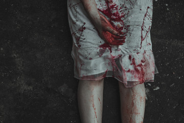 White dress woman was killed with bloodstain, Depression and sadness.