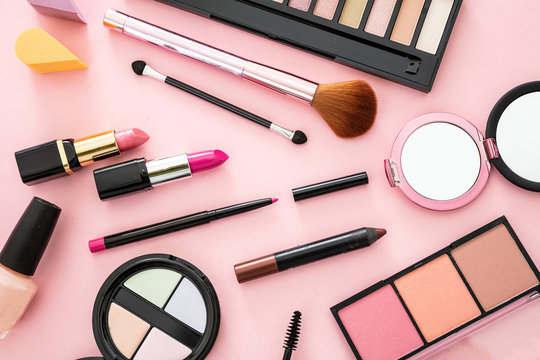 Make up cosmetics products against pink color background
