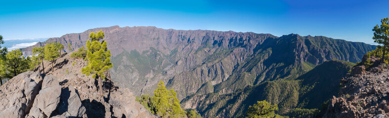Panoramic view on crater Caldera de Taburiente from viepoint at top of Pico Bejenado mountain on the island La Palma, Canary Islands, Spain