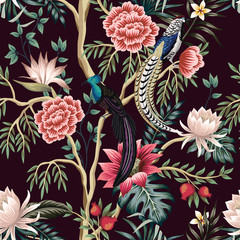 Vintage garden tree, flower, leaves, exotic bird, floral seamless pattern dark background. Exotic chinoiserie wallpaper.