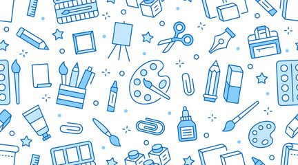 Stationery background, school tools seamless pattern. Art education wallpaper with line icons of pencil, pen, paintbrush, palette, easel. Painter supplies vector illustration blue white color