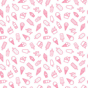 Ice cream background, sweet food seamless pattern. Vanilla icecream, frozen yogurt, popsicle lolly line icons. Summer dessert colorful vector illustration pink white color