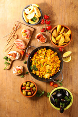 Wall Murals Asia Country assorted of spanish food, tapas, paella and mussel