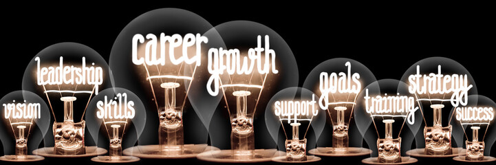 Light Bulbs with Career Growth Concept