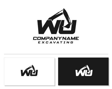 Initial W U WU excavator logo concept vector with arm excavator template vector.