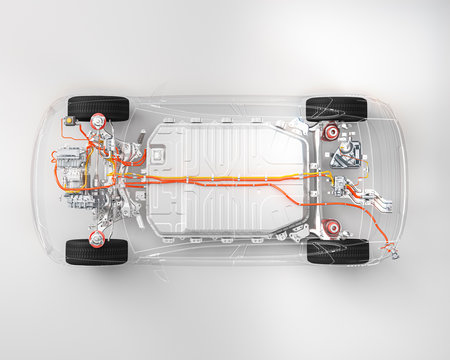 Modern electric car chassis x-ray  top down view vehicle battery in studio environment line art 3d render