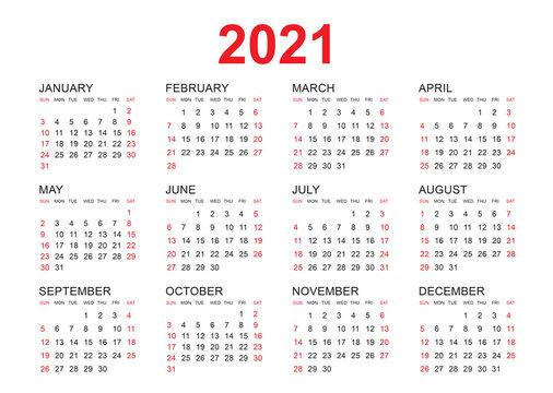 Calendar 2021 vector template, simple minimal design, Yearly calendar organizer for weeks, Set of 12 calendar, advertisement, printing.