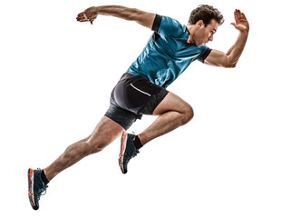 Stores à enrouleur Jogging one caucasian runner running jogger jogger young man in studio isolated on white background