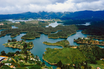 View from the famous rock-stone Piedra de Guatapé Colombia. Lots of little green islands.