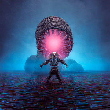 Lair of the monster / 3D illustration of retro science fiction scene showing astronaut encountering giant alien worm creature on water planet