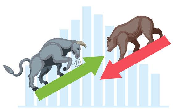 bull and bear stock market concept vector
