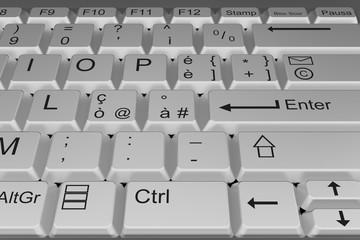 Tastiera di computer bianca con enter in primo piano.