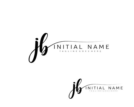 J B JB Initial handwriting logo vector. Hand lettering for designs.