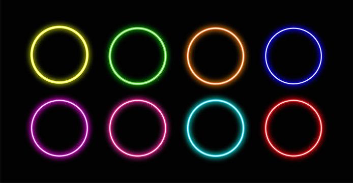 Circle neon.Circle neon vector.Circle  neon icon