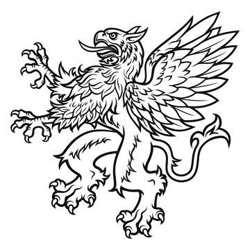 Heraldic black and white griffin