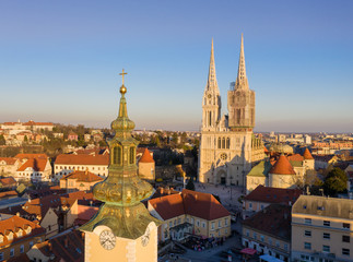 Zagreb Old Town and Cityscape with Zagreb Cathedral in Background. Croatia.