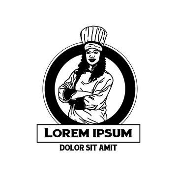 Chef Mascot Logo. Cook Illustration, chef emblem restaurant logo, chef character logo