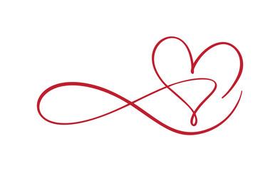 Heart love sign forever logo. Design flourish element for valentine card. Vector illustration. Infinity Romantic symbol wedding. Template for t shirt, card, poster
