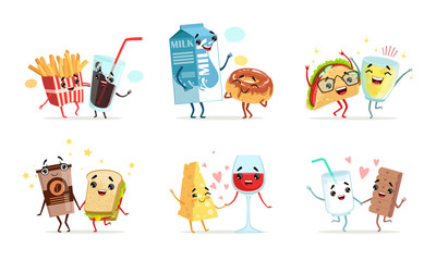 Forever Friends Collection, Cute Funny Food and Drink Characters Best Friends Vector Illustration