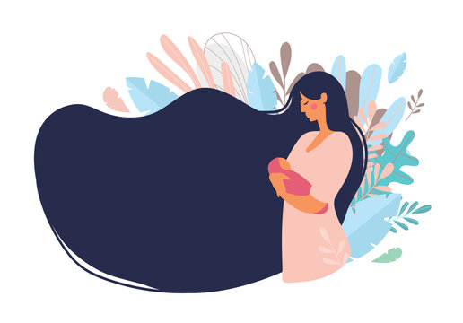 Cute mom with a newborn. The concept of motherhood, family. Flat design with copy space. Side view of a happy woman with long hair on a background of blue leaves. Vector illustration on a white