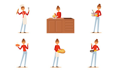 Cheerful Woman Cooking and Baking at Home Collection, Housewife Preparing Food in the Kitchen Vector Illustration